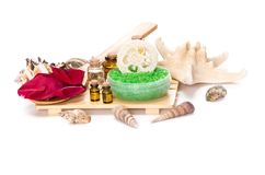 akcesoria kąpać się ciała kawioru klejnotu mleka mydła zdroju kamieni ręczniki Obrazy Royalty Free