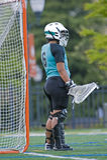 akci dziewczyn bramkarza lacrosse czekanie Obraz Stock