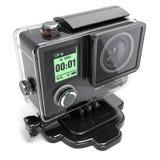 Akci kamera 4K dla krańcowego nagrywanie wideo w plastikowym pudełku 3 zdjęcia royalty free