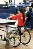 akci s stołowego tenisa wózek inwalidzki kobiety Obraz Royalty Free
