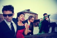 Akci scena ludzie biznesu: Bohater w ubiorze Fotografia Royalty Free