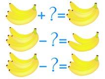 Akci związek dodatek i odejmowanie, przykłady z bananami Edukacyjne gry dla dzieci royalty ilustracja