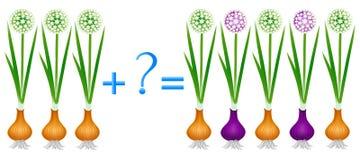 Akci związek dodatek, przykłady z rośliny cebulą Edukacyjna gra dla dzieci royalty ilustracja