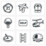 Akcj ratowniczych ikony ustawiać również zwrócić corel ilustracji wektora Obraz Stock