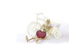 Akcyjna fotografia: Ludzki zredukowany opierać jechać na rowerze na białym tle Zdjęcia Royalty Free