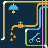 Akcyjna instalacja wodnokanalizacyjna pojęcie projekt eps Zdjęcie Stock