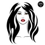 Akcyjna kobieta z czarni włosy i czerwieni wargami tło karty fasonują wektor przydać jak portret ilustracji