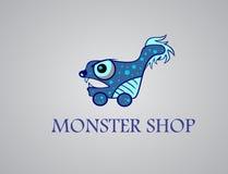 Akcyjna loga potwora zakupy kreskówka Zdjęcie Stock