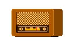 Akcyjna retro radiowa ikona Rocznika radia projekta wyemitowana nadawcza komunikacyjna płaska ilustracja royalty ilustracja
