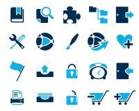 Akcyjna Wektorowa błękitna sieć i biurowe ikony w wysoka rozdzielczość Obrazy Royalty Free