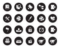 Akcyjna Wektorowa biała zaokrąglona sieć i biurowe ikony na czarnym okręgu Zdjęcie Royalty Free