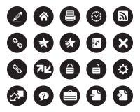 Akcyjna Wektorowa biała zaokrąglona sieć i biurowe ikony na czarnym okręgu Obrazy Royalty Free