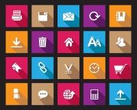 Akcyjna Wektorowa Colourful Kwadratowa sieć i biurowe ikony z cieniem w wysoka rozdzielczość Zdjęcia Stock