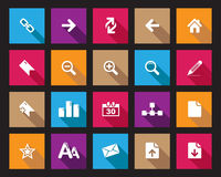 Akcyjna Wektorowa Colourful Kwadratowa sieć i biurowe ikony z cieniem w wysoka rozdzielczość Fotografia Royalty Free