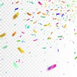 Akcyjna wektorowa ilustracja realistyczni kolorowi confetti, błyskotliwość Odizolowywać na przejrzystym w kratkę tle świąteczny Zdjęcie Stock