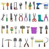 Akcyjna wektorowa ilustracja ustawiać odizolowywać ikony buduje narzędzia naprawiają, budowa budynki, świder, młot, śrubokręt, zo royalty ilustracja