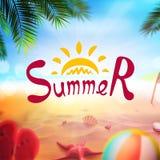 Akcyjna wektorowa ilustracyjna realistyczna plaża Lato i słońce, morze Set, piłka, rozgwiazda, skorupa, drzewko palmowe, plażowi  Obrazy Royalty Free