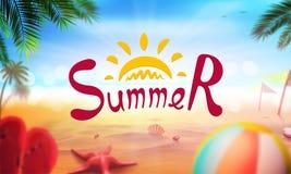 Akcyjna wektorowa ilustracyjna realistyczna plaża Lato i słońce, morze Set, piłka, rozgwiazda, skorupa, drzewko palmowe, plażowi  Obraz Royalty Free