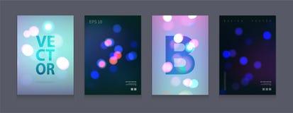 Akcyjne wektorowe ilustracyjne colour pokrywy ustawiają bokeh Światła miasto przy noc Futurystyczni projektów plakaty Szablony dl Zdjęcia Stock