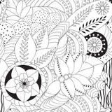 Akcyjnego bezszwowego doodle kwiecisty czarny i biały wzór Ori Obraz Stock