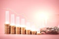 Akcyjnego funduszu lub pieniądze oszczędzania wykres na monetach Tło dla biznesowych pomysłów i projekta Mapa dla pieniężnej inwe fotografia stock