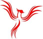 Akcyjnego loga feniksa ptaka płomienny kreskowy latanie royalty ilustracja