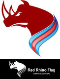 Akcyjnego loga nosorożec czerwona flaga Zdjęcie Royalty Free