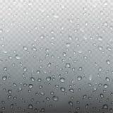 Akcyjnego wektorowego ilustracja deszczu realistyczne wodne kropelki na szkle Odizolowywającym na przejrzystym w kratkę tle EPS10 royalty ilustracja