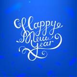 Akcyjnego wektorowego ilustracyjnego kaligraficznego teksta nowego roku literowania projekta karty szablonu błękita Szczęśliwy tł Zdjęcia Royalty Free