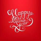 Akcyjnego wektorowego ilustracyjnego kaligraficznego teksta nowego roku literowania projekta karty szablonu czerwieni Szczęśliwy  Fotografia Stock
