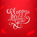 Akcyjnego wektorowego ilustracyjnego kaligraficznego teksta nowego roku literowania projekta karty szablonu czerwieni Szczęśliwy  Fotografia Royalty Free