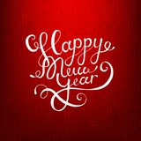Akcyjnego wektorowego ilustracyjnego kaligraficznego teksta nowego roku literowania projekta karty szablonu puloweru Szczęśliwy t Obrazy Stock