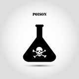 Akcyjnej płaskiej ikony chemiczna kolba z czaszką i crossbones zawiera toksyczną substancję ilustracja wektor