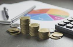 Akcyjni pieniężni wskaźniki z sterty monetą Pieniężny rynek papierów wartościowych Fotografia Stock
