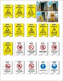 Akcyjni wektorowi okupacyjnego bezpieczeństwa i zdrowie znaki, ostrzegawczy signboard ilustracji