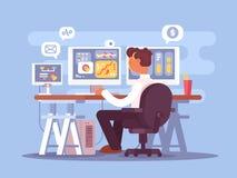 Akcyjny handlowiec siedzi w karle ilustracji