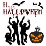 Akcyjny Ilustracyjny Halloweenowy wakacje, wampiry i bania, si ilustracji