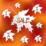 Akcyjny karciany szablon dla jesieni sprzedaży Abstrakty zamazujący pomarańczowi tła i spadku liście Fotografia Royalty Free