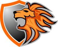 Akcyjny loga lew na osłonie royalty ilustracja