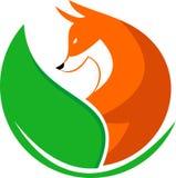 Akcyjny loga lis z liściem ilustracji