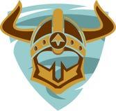 Akcyjny loga Viking hełm na osłonie Fotografia Royalty Free