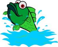 Akcyjny logo zieleni ryba skok od wody Obrazy Stock
