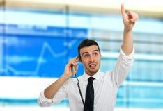 Akcyjny makler przy pracą Zdjęcia Stock