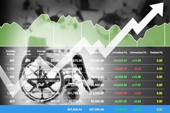 Akcyjny pieniężny wskaźnik na pomyślnych inwestorskich wzrostowych dane dla opieka zdrowotna biznesu obrazy royalty free
