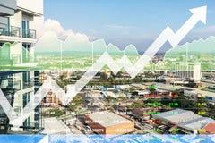 Akcyjny pieniężny wskaźnik pomyślna inwestycja na majątkowym nieruchomość biznesie, przemysle budowlanym i obrazy stock
