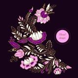 Akcyjny wektorowy abstrakcjonistyczny ręka remisu kwiat i fala, doodle bukiet Fotografia Royalty Free