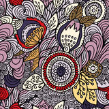 Akcyjny wektorowy bezszwowy abstrakcjonistyczny ręka remisu kwiat i fala, doodle ilustracja wektor