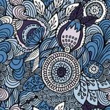 Akcyjny wektorowy bezszwowy abstrakcjonistyczny ręka remisu kwiat i fala, doodle ilustracji