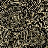 Akcyjny wektorowy bezszwowy kwiat, doodle wzór abstrakcjonistycznej sztuki backg ilustracji
