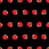 Akcyjny Wektorowy czerwony pomidoru wzór na czarnej tło tapecie Obraz Royalty Free